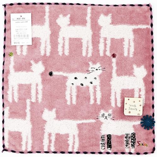 猫タオルハンカチ(ソックスキャット)ピンク