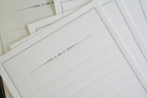 装飾罫線Mini Stationery Paper all Antique-52- 【シルバー】
