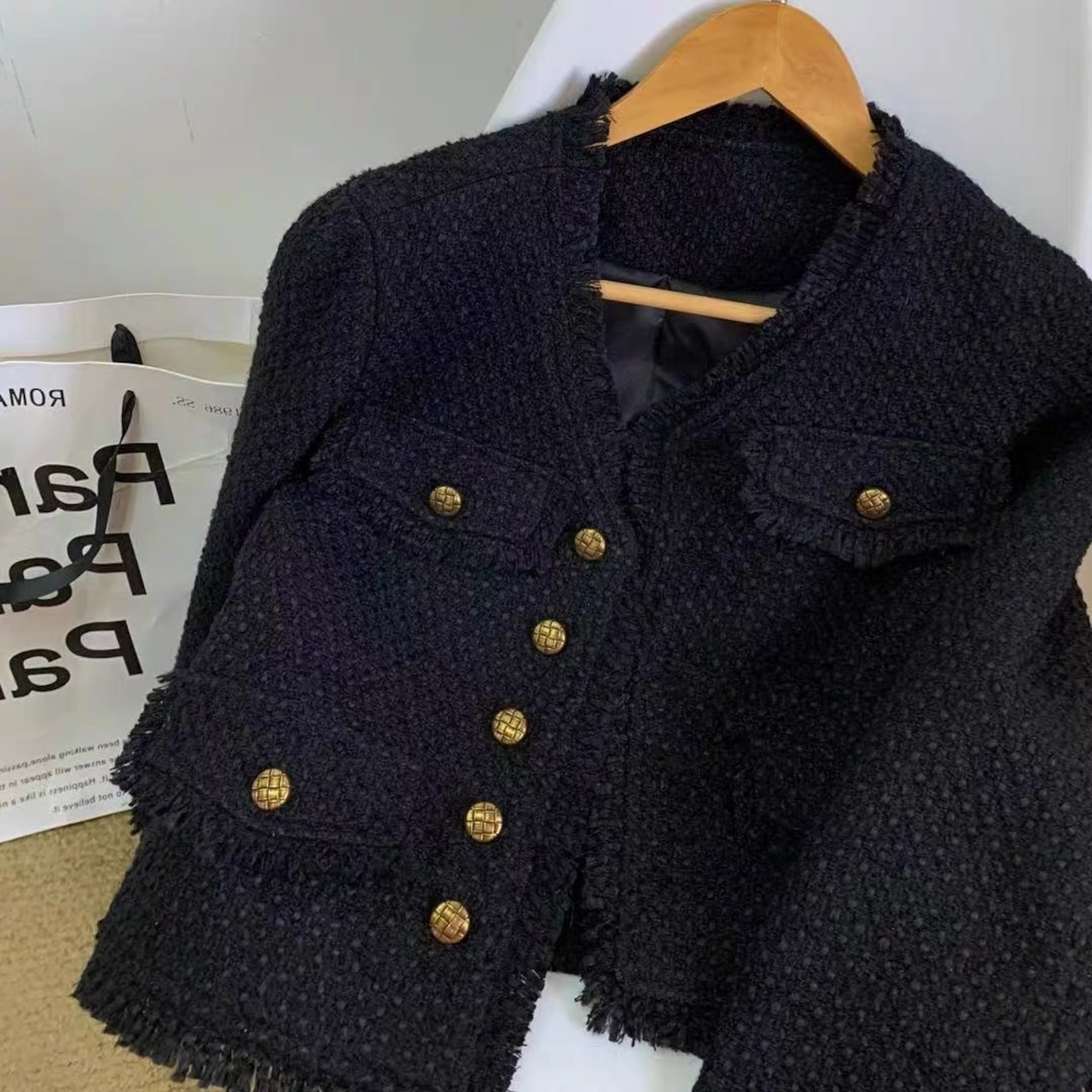 v neck tweed jacket