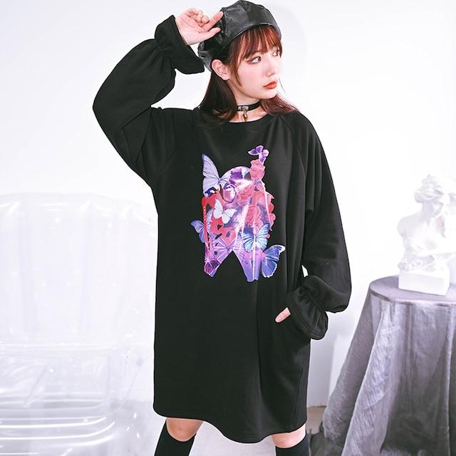 【古怪舍シリーズ】★裏起毛トップス★ ロングTシャツ ラウンドネック 蝶々 ゆったり ブラック 黒い