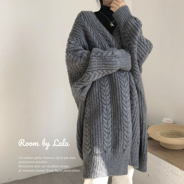 【即納】Long knit cardigan / アウター / LE202181 (gray)