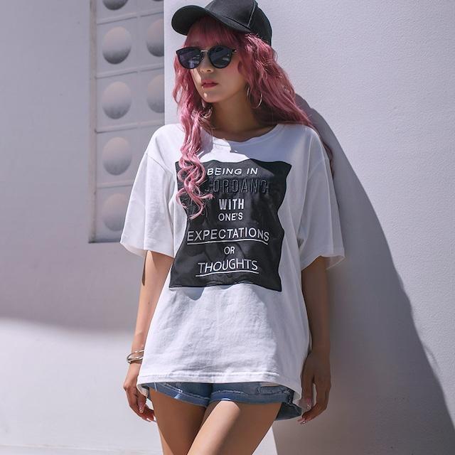 シフォンワッペンロゴプリントTシャツ (L19062-053)