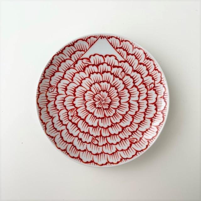 【おてしょ皿】赤絵花弁富士山図 丸小皿