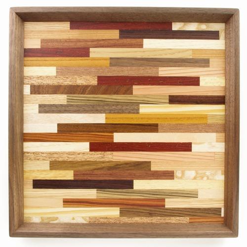 woodmosaic 正方形のトレー 0026