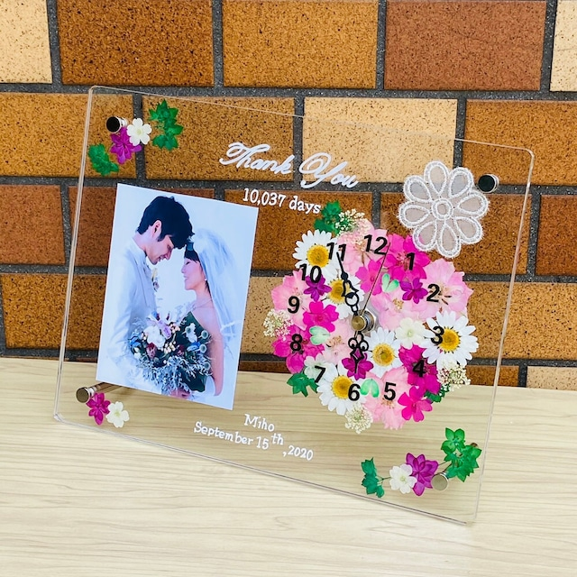 ✿時計(クオーツ)付き  ハンドメイド 【子育て感謝状【グレース・レース ピンク】  ギフト 両親贈呈 結婚祝い