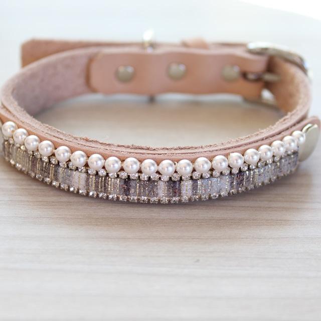 """""""WanDelen""""Dog Necklace (stripe beige)"""