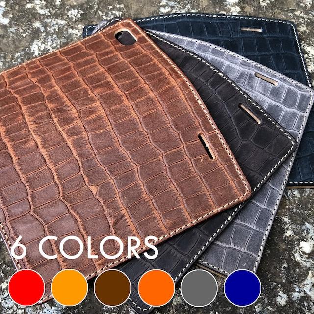 【iPhoneケース】各種対応 手帳型 6カラー クロコダイル柄 ワニ 型押しオイルレザー ヌメ革 IP-VICROCO