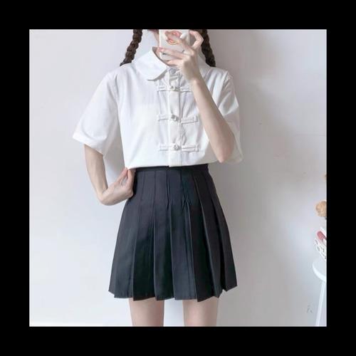 【お取り寄せ】チャイナ 半袖シャツ ホワイト