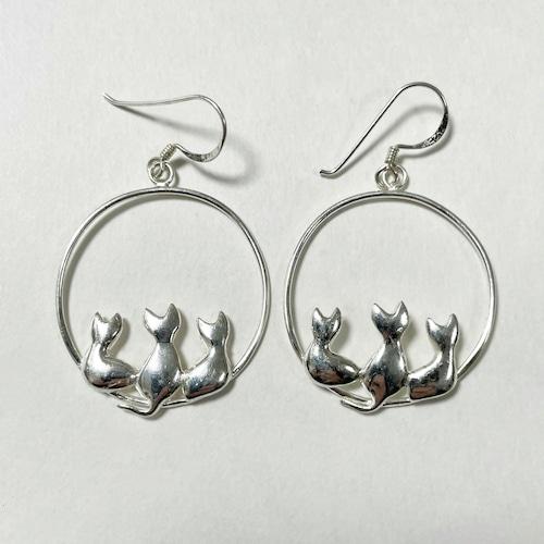 Vintage 925 Silver Cats Motif Pirced Earrings