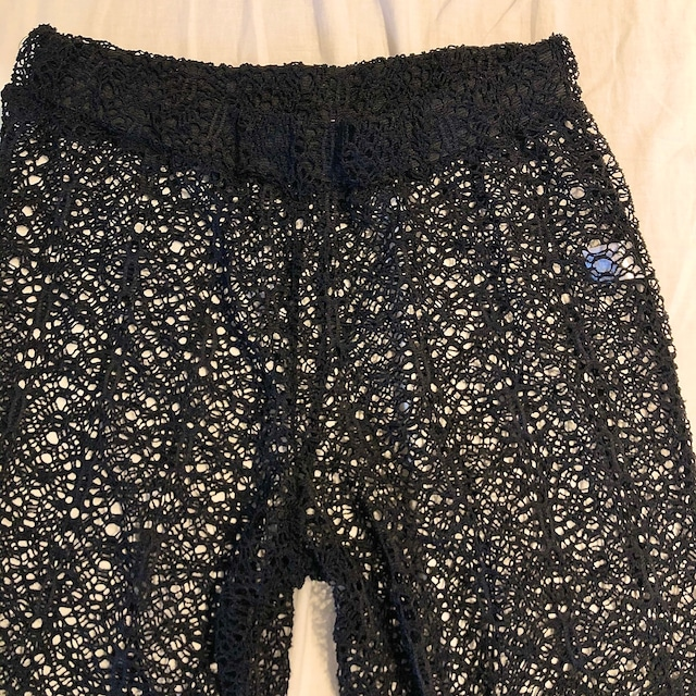 Black crochet knit pants