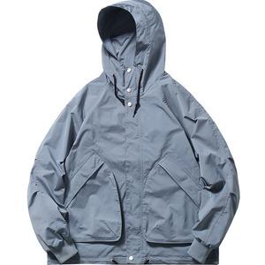 j1717ジャケット メンズ マウンテンパーカー ジップアップ 春 秋物 防風 ウィンドブレーカー フード カジュアル 大きいサイズ ジャンパー ショート ゆったり 黒 ブルー