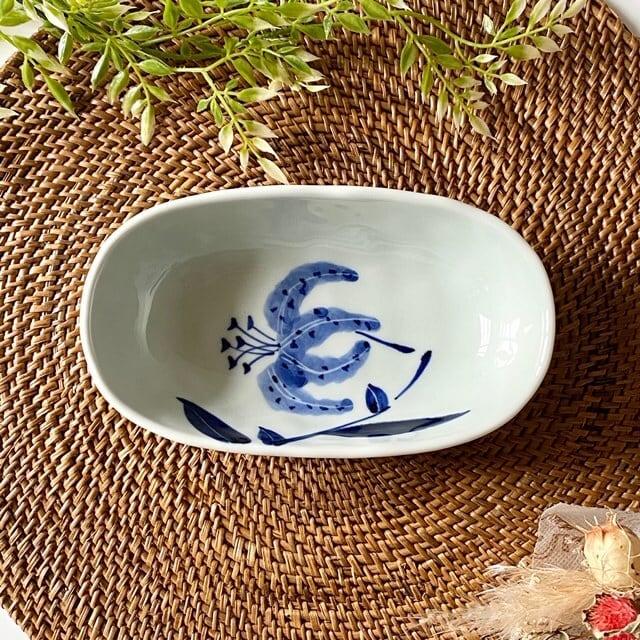 花もよう(ユリ) オーバル鉢(小)