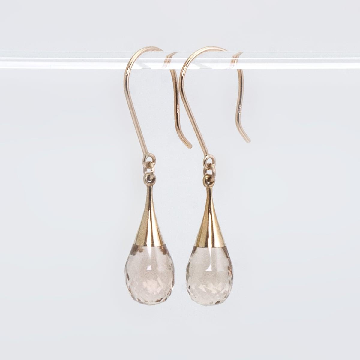 Drop earrings / Champagne quartz