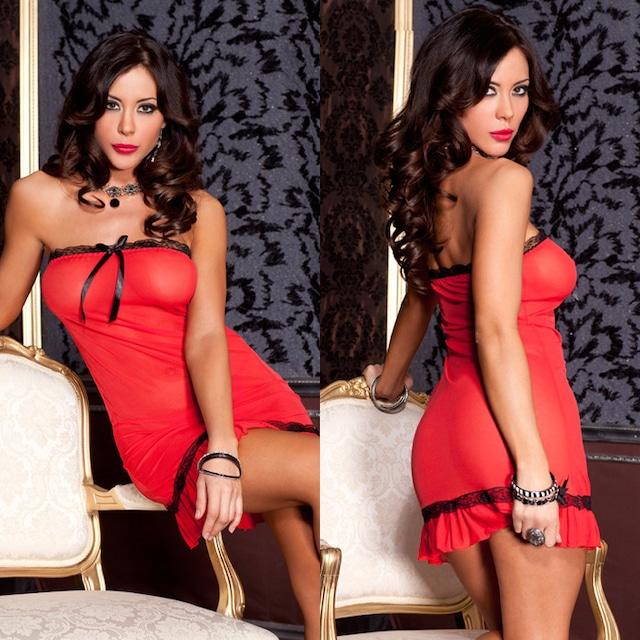 赤 黒 レーストリム付きチューブドレス&Gストリングショーツ 2点セットML56129RB