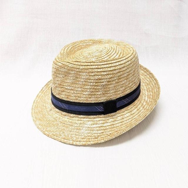 【帽子】中折れ麦わらHat シックなnavy