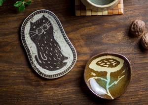 猫紋小皿(銘々皿・カトラリーレスト)/鶴田季子