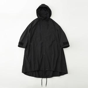 <WOMEN'S>HOODED A LINE COAT- BLACK