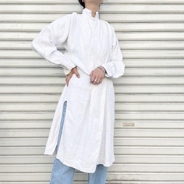 "USED "" france antique linen long smock / フランスアンティークリネンワンピース """