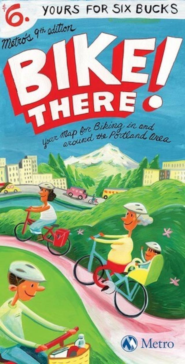 洋書 - Bike There! Portland Map