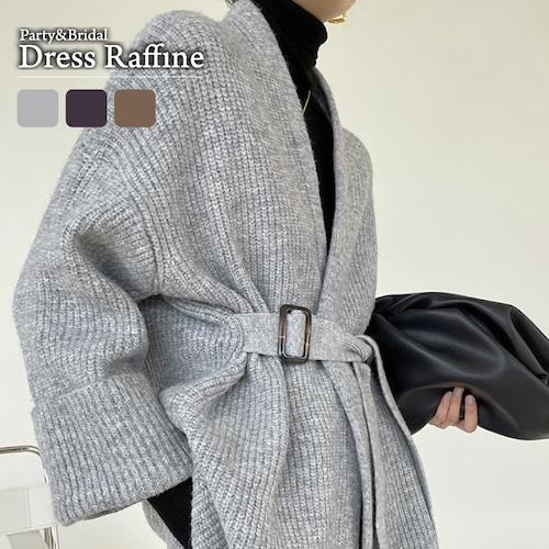 コーディガン レディース アウター ミディアム丈 リブニット 襟なし 羽織 大きいサイズ ゆったり グレー ブラウン ダークグレー