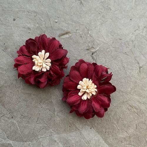 【ピアス/イヤリング】Simurgh シームルグ ボルドー フラワー 花 造花