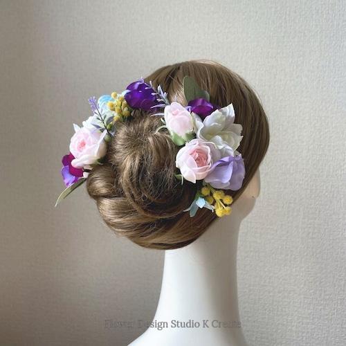 ピンクの薔薇とパンジーのヘッドドレス パープル ミモザ ナチュラル アーティフィシャルフラワー 髪飾り 成人式 ヘッドドレス ウェディング