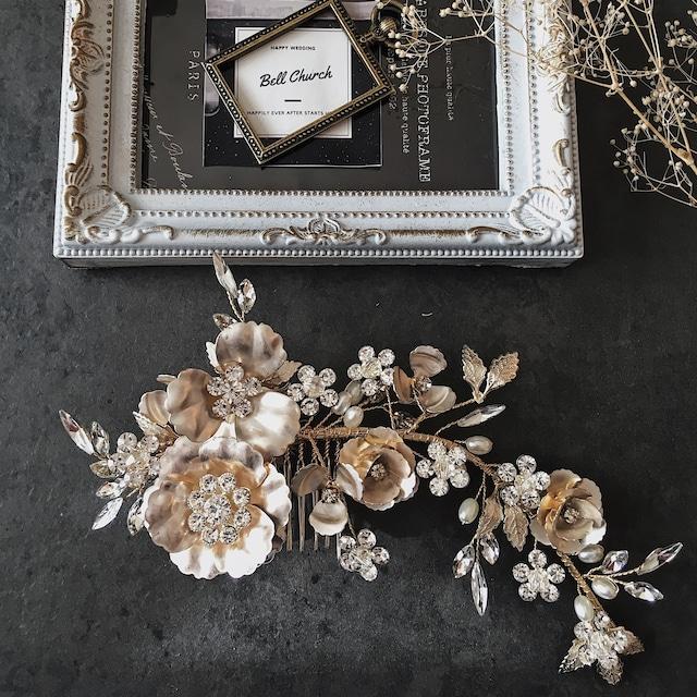 ヘッドドレス  お花モチーフ ビジュー シャンパンゴールド(BC-H22)|ウェディングアクセサリー