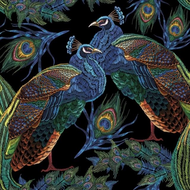 2021秋冬【Maki】バラ売り2枚 ランチサイズ ペーパーナプキン Embroidered Peacocks with Feathers ブラック