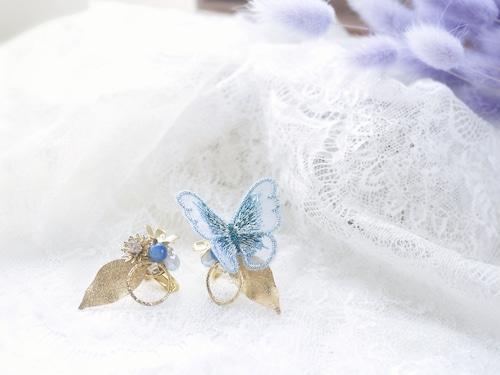 蝶刺繍(ブルー)