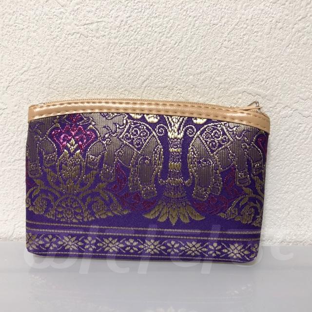 象刺繍布製化粧ポーチ