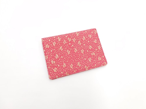 二つ折り定期入(免許証入)ピンク/白 海亀柄