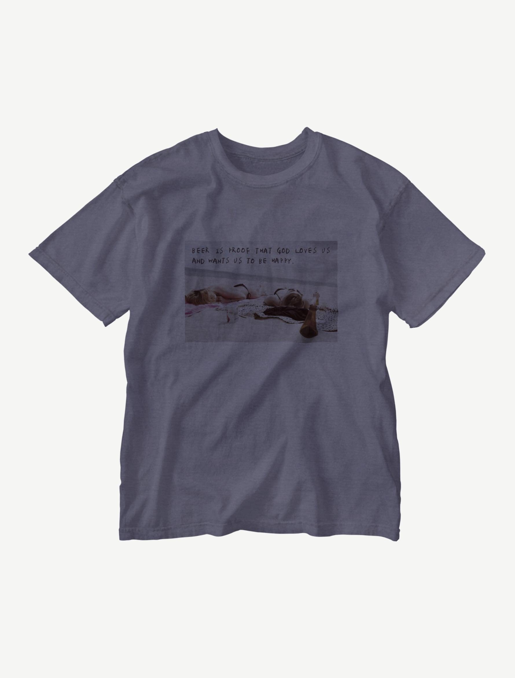 【悩み無用の開放ビーチ】ウォッシュTシャツ(ネイビー)