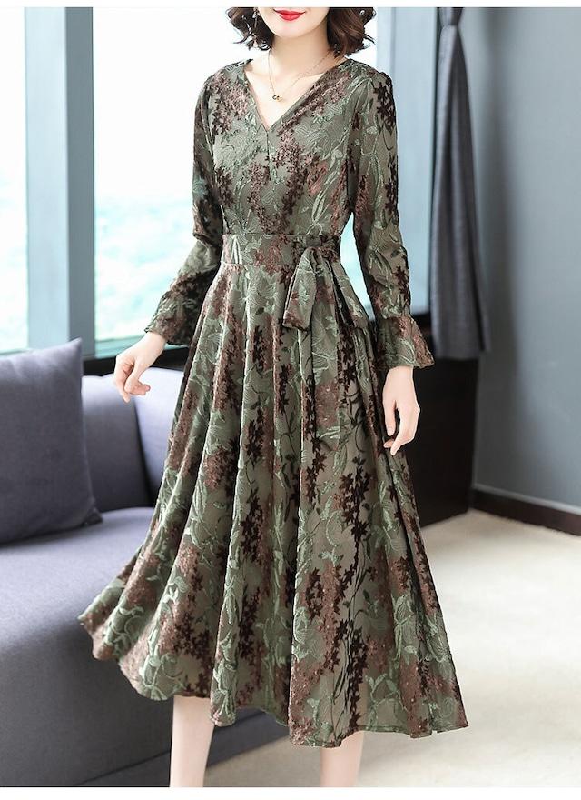 ジャガード織刺繍 ドレス ワンピ