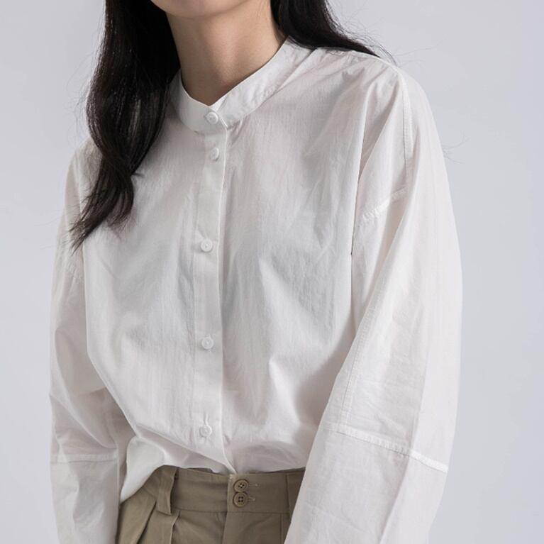 Stand collar design shirt(スタンドカラーデザインシャツ)b-132