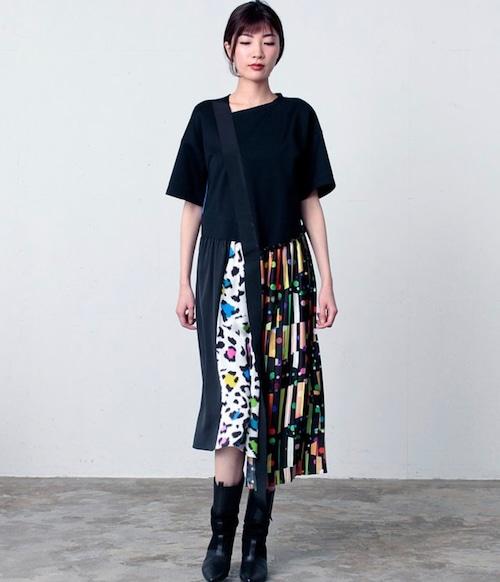 FLUMOR  Import dot/leopard print pleated dress