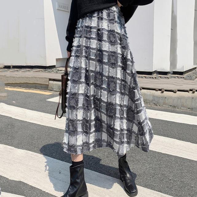 【ボトムス】保温性いい!韓国系 学園風 ハイウエスト Aライン チェック柄 超かわいい スカート52450270