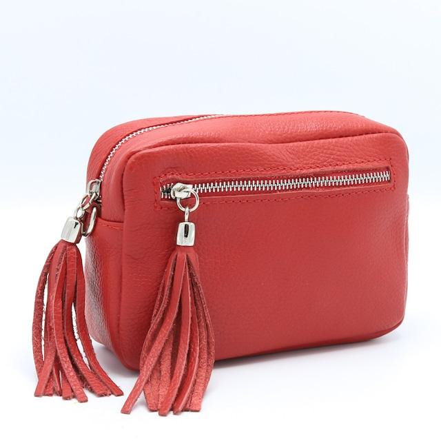 イタリア製 ショルダーバッグ スティーナ チャーム レッド