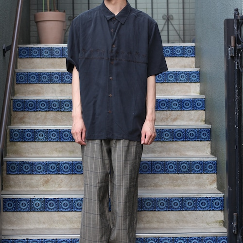 USA VINTAGE EMBROIDERY HALF SLEEVE SHIRT/アメリカ古着刺繍半袖シャツ