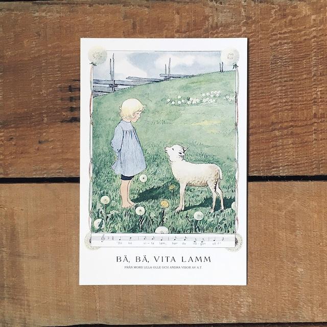 ポストカード「BÄ, BÄ, VITA LAMM(MORS LILLA OLLE - 02)」