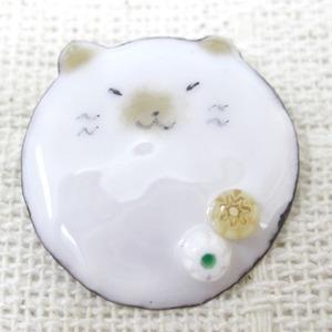 七宝焼 玉猫ブローチ(シャムネコ)
