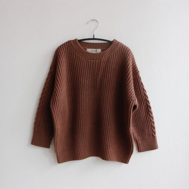 《eLfinFolk 2021AW》Rib stitch sweater / cocoa brown / 110・130cm