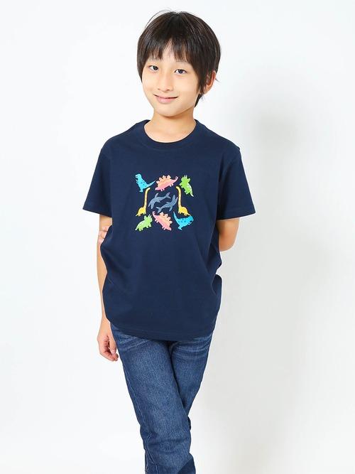 恐竜プリントTシャツ(子供用・恐竜パラダイス)ネイビー【KT-MO】