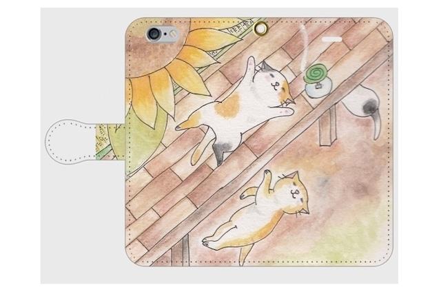 (iPhone用)猫と向日葵の手帳型スマホケース