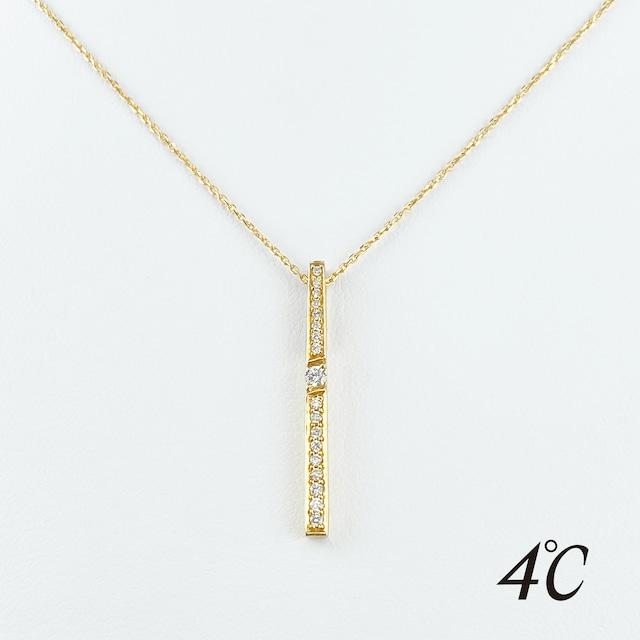 4℃ ダイヤモンドバー ダイヤ ペンダント K18 ネックレス