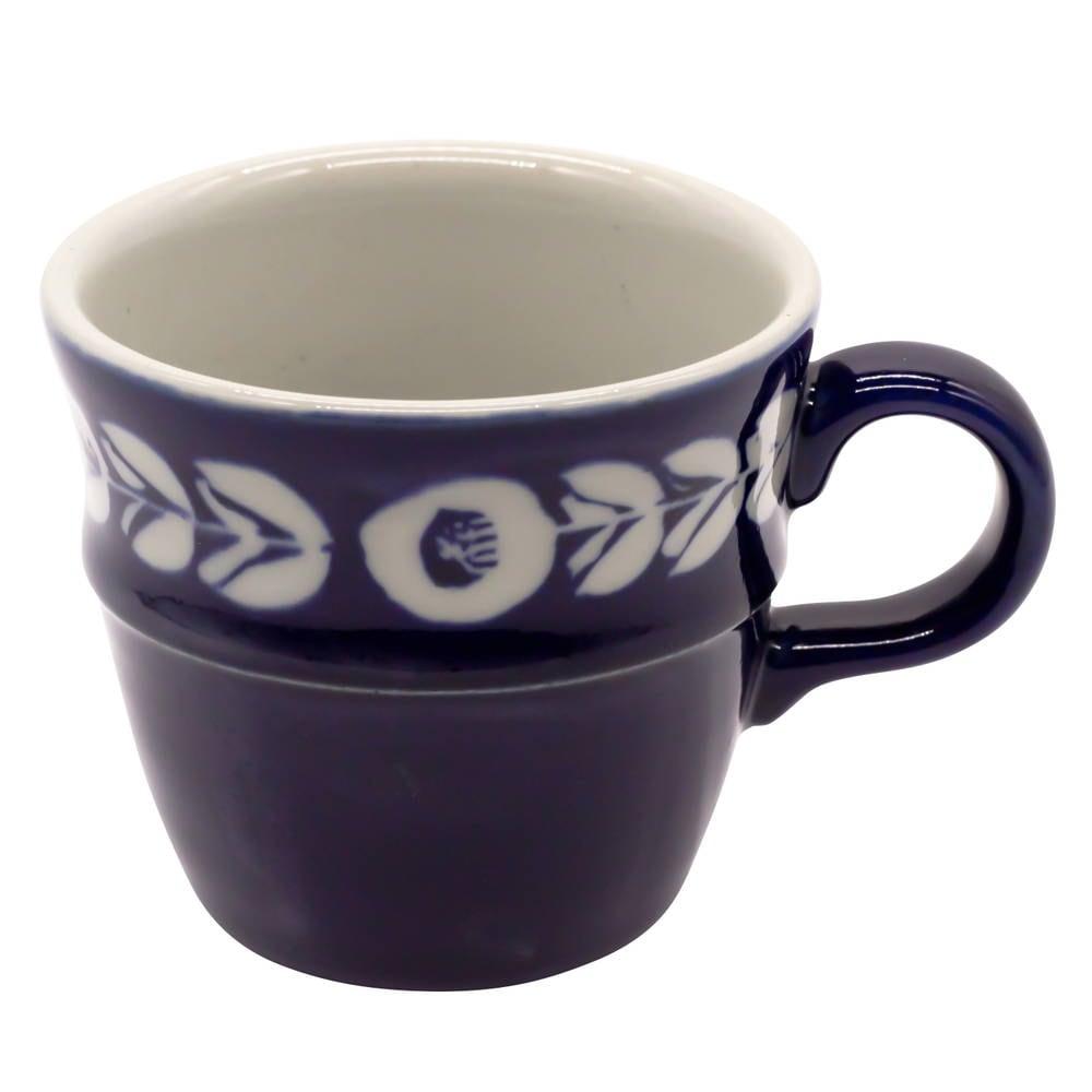 萬古焼 藍窯 ステップマグカップ 220ml 「カメリア」 白抜きネイビー AGM-200079