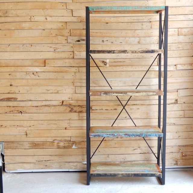 TOPANGA Furniture リサイクルウッド&アイアン 5段シェルフ H180cm
