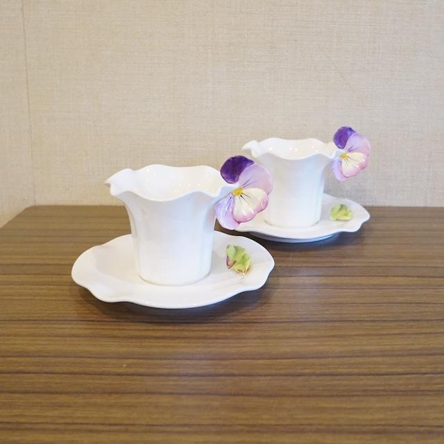 パンジーのカップ&ソーサー 2客セット