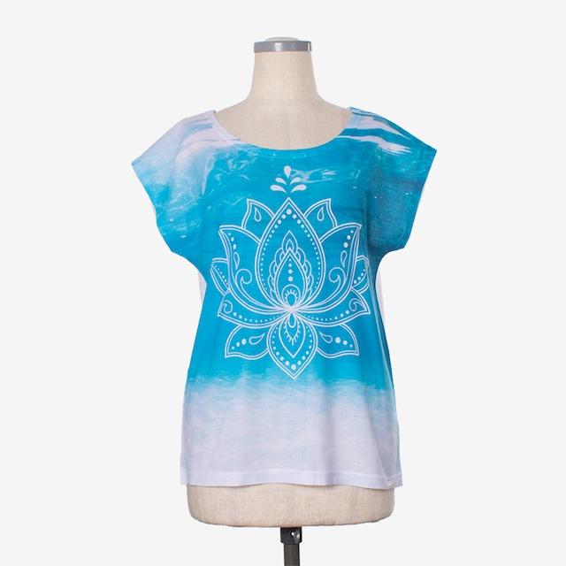 ヨガプリントTシャツ オーシャン4 Yoga print T-shirt Ocean4