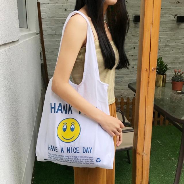 ハンドバッグ トートバッグ エコバッグ バッグ A4 シンプル 収納 韓国 学生 おしゃれ かわいい 大きめ レディース お揃い bag スマイル ニコちゃん シンプルデザインバッグ