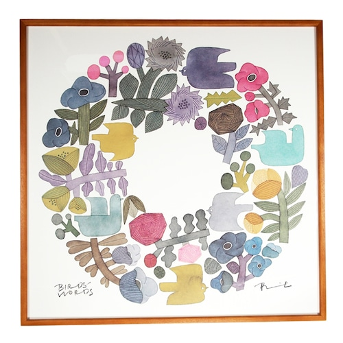 BIRDS' WORDS(バーズワーズ) Poster 60 Shabby Wreath 額装タイプ